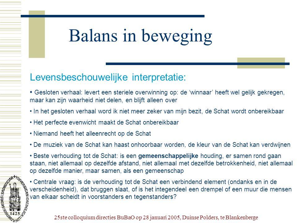 25ste colloquium directies BuBaO op 28 januari 2005, Duinse Polders, te Blankenberge Balans in beweging Levensbeschouwelijke interpretatie: • Gesloten
