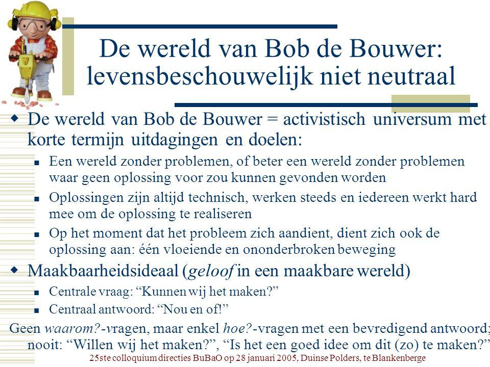 25ste colloquium directies BuBaO op 28 januari 2005, Duinse Polders, te Blankenberge De wereld van Bob de Bouwer: levensbeschouwelijk niet neutraal 