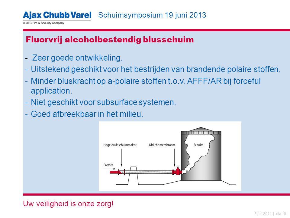Schuimsymposium 19 juni 2013 Uw veiligheid is onze zorg! 3 juli 2014 | dia 10 Fluorvrij alcoholbestendig blusschuim - Zeer goede ontwikkeling. -Uitste