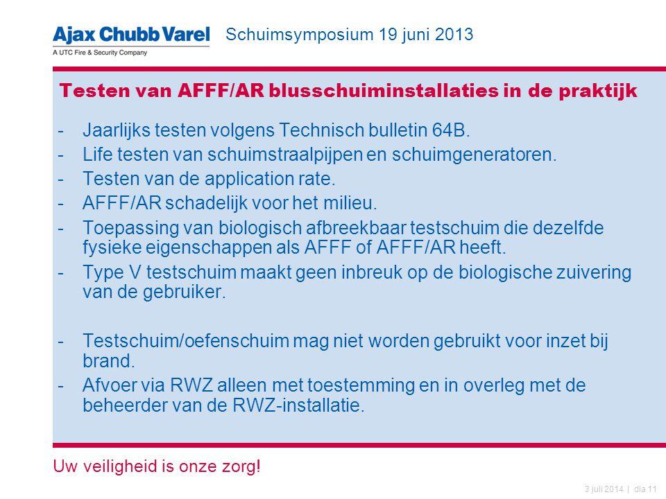 Schuimsymposium 19 juni 2013 Uw veiligheid is onze zorg! 3 juli 2014 | dia 11 Testen van AFFF/AR blusschuiminstallaties in de praktijk -Jaarlijks test