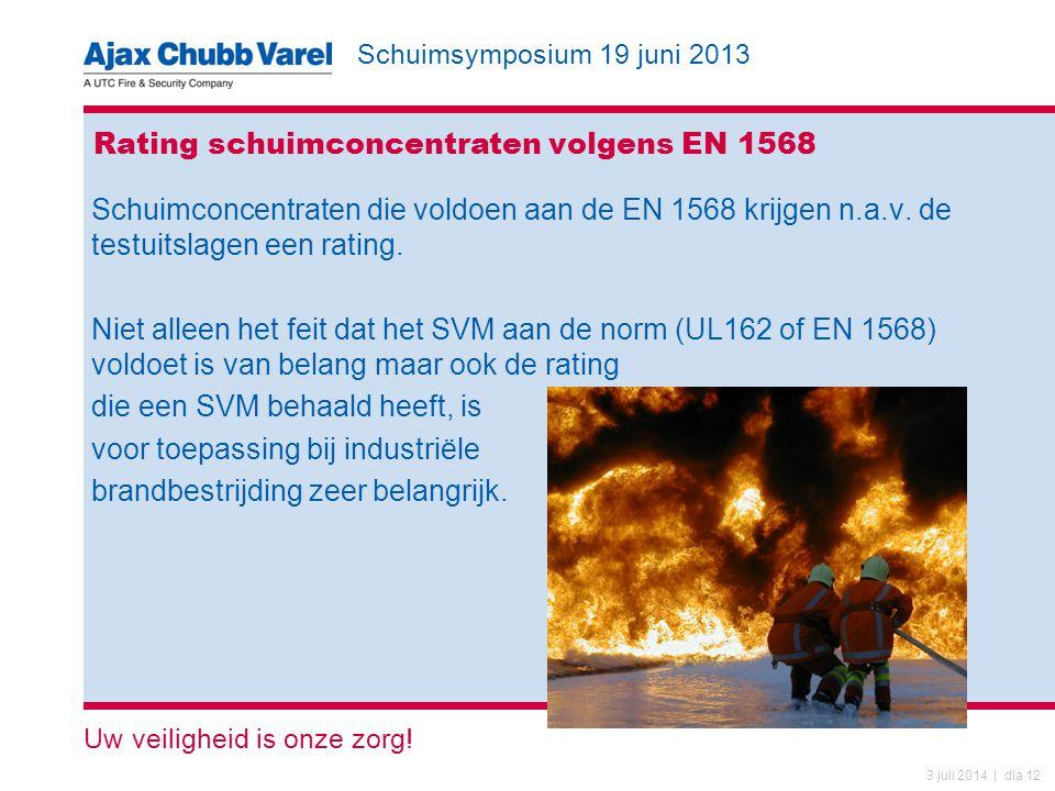 Schuimsymposium 19 juni 2013 Uw veiligheid is onze zorg! 3 juli 2014 | dia 12 Rating schuimconcentraten volgens EN 1568 Schuimconcentraten die voldoen