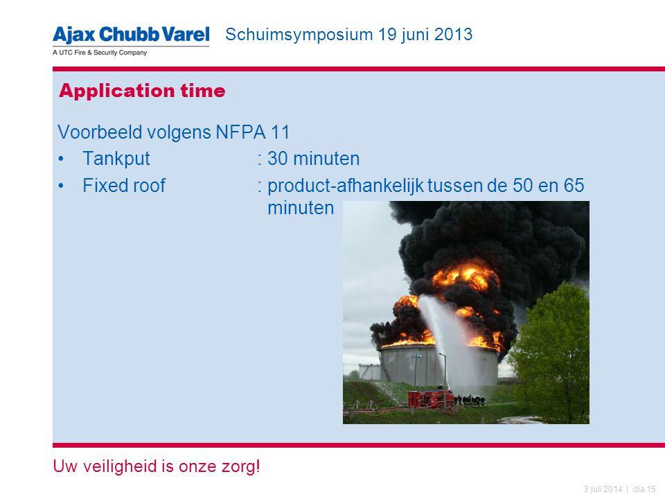 Schuimsymposium 19 juni 2013 Uw veiligheid is onze zorg! 3 juli 2014 | dia 15 Application time Voorbeeld volgens NFPA 11 •Tankput: 30 minuten •Fixed r