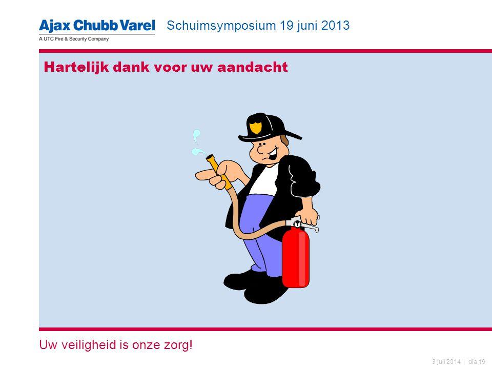 Schuimsymposium 19 juni 2013 Uw veiligheid is onze zorg! 3 juli 2014 | dia 19 Hartelijk dank voor uw aandacht