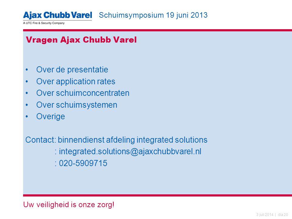 Schuimsymposium 19 juni 2013 Uw veiligheid is onze zorg! 3 juli 2014 | dia 20 Vragen Ajax Chubb Varel •Over de presentatie •Over application rates •Ov