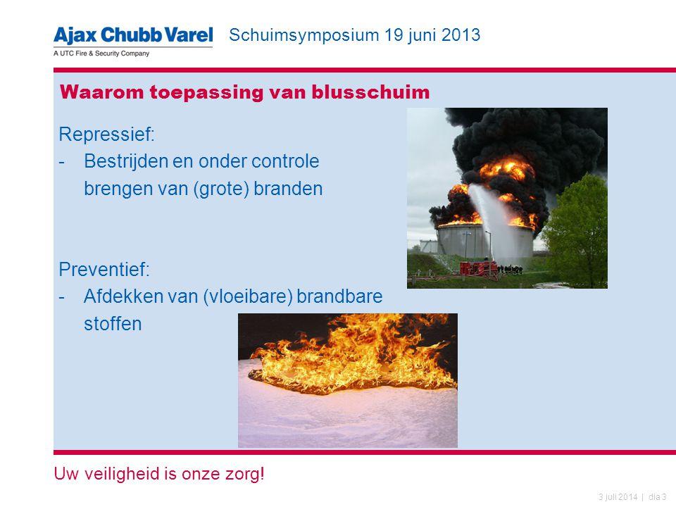 Schuimsymposium 19 juni 2013 Uw veiligheid is onze zorg! 3 juli 2014 | dia 3 Waarom toepassing van blusschuim Repressief: -Bestrijden en onder control