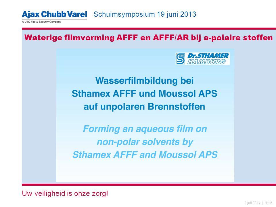 Schuimsymposium 19 juni 2013 Uw veiligheid is onze zorg! 3 juli 2014 | dia 6 Waterige filmvorming AFFF en AFFF/AR bij a-polaire stoffen