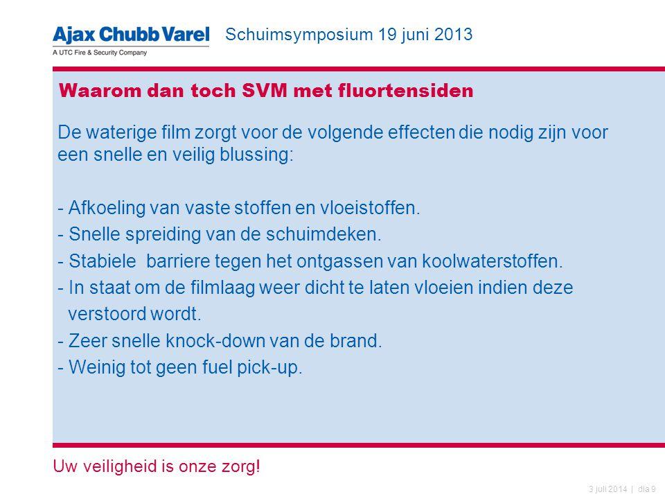 Schuimsymposium 19 juni 2013 Uw veiligheid is onze zorg! 3 juli 2014 | dia 9 Waarom dan toch SVM met fluortensiden De waterige film zorgt voor de volg