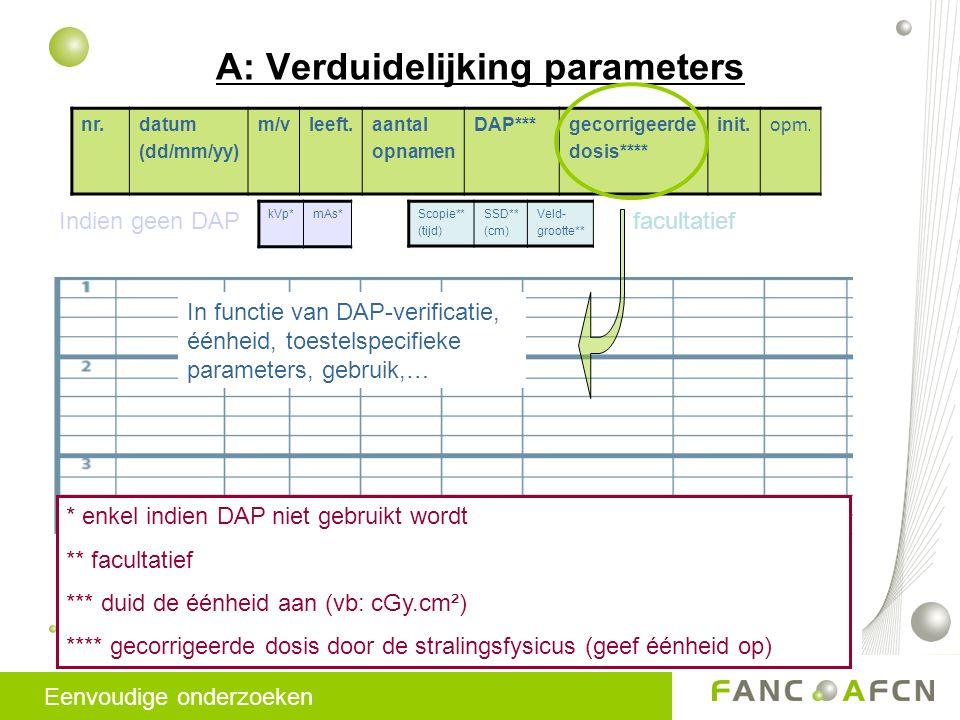 A: Verduidelijking parameters nr.datum (dd/mm/yy) m/vleeft.aantal opnamen DAP***gecorrigeerde dosis**** init.opm.