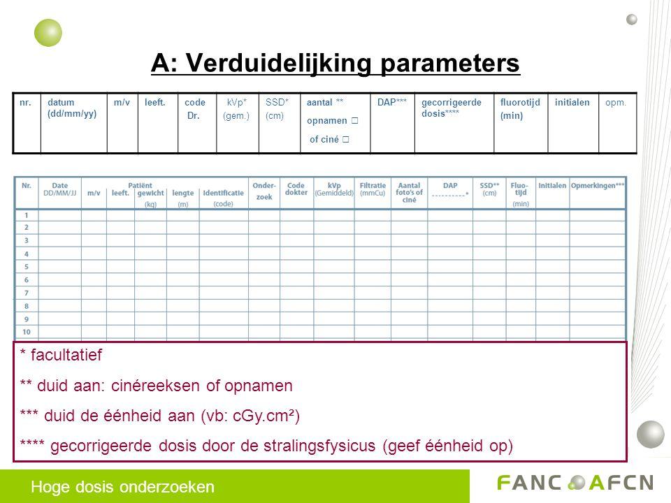 A: Verduidelijking parameters Hoge dosis onderzoeken nr.datum (dd/mm/yy) m/vleeft.code Dr.