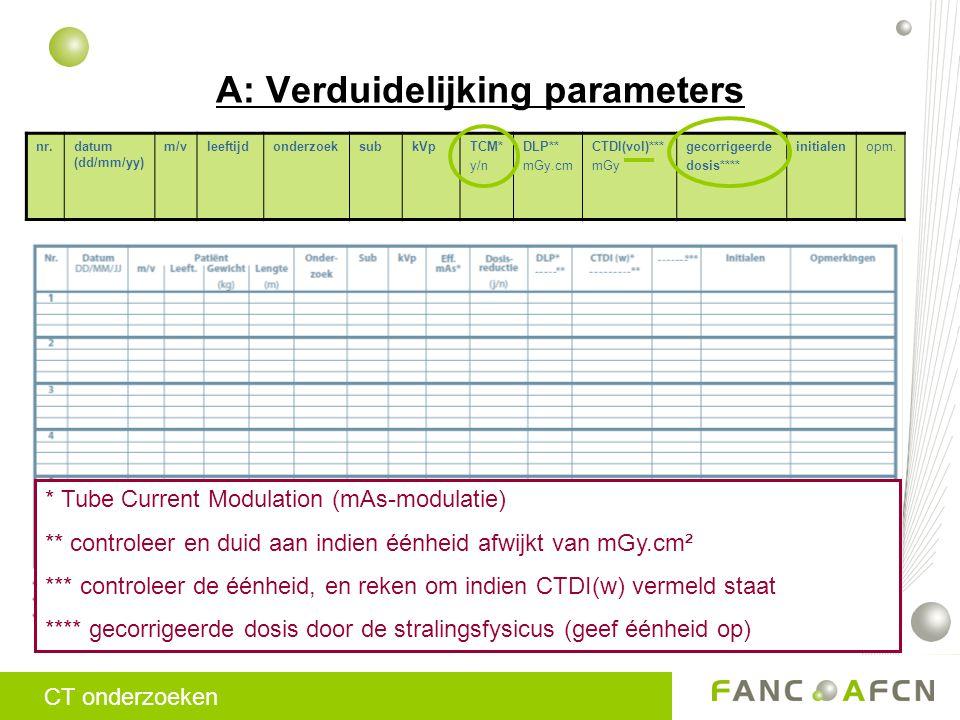 A: Verduidelijking parameters CT onderzoeken nr.datum (dd/mm/yy) m/vleeftijdonderzoeksubkVpTCM* y/n DLP** mGy.cm CTDI(vol)*** mGy gecorrigeerde dosis**** initialenopm.