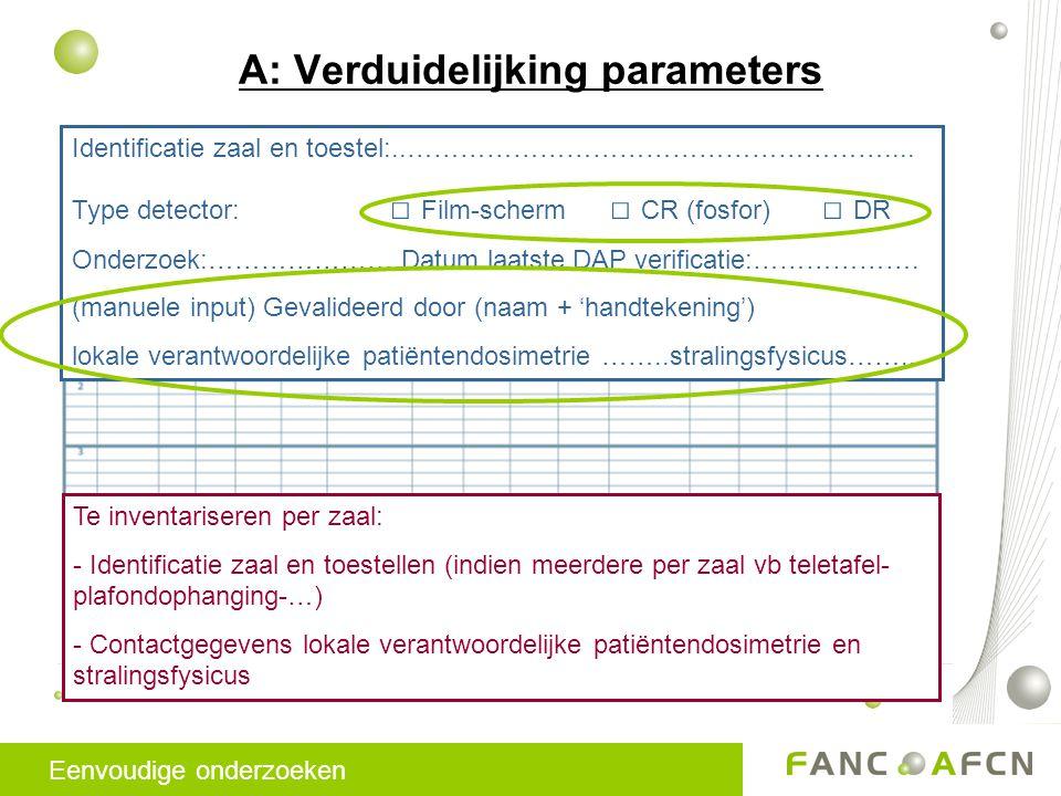 A: Verduidelijking parameters Identificatie zaal en toestel:..………………………………………………....