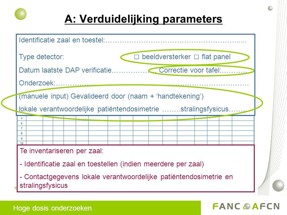 A: Verduidelijking parameters Identificatie zaal en toestel:………………………………………………......