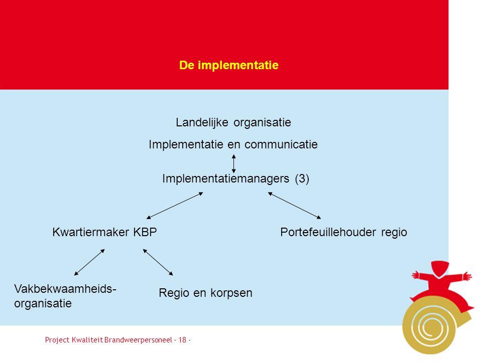Besluit18 De implementatie Project Kwaliteit Brandweerpersoneel - 18 - Landelijke organisatie Implementatie en communicatie Portefeuillehouder regioKw
