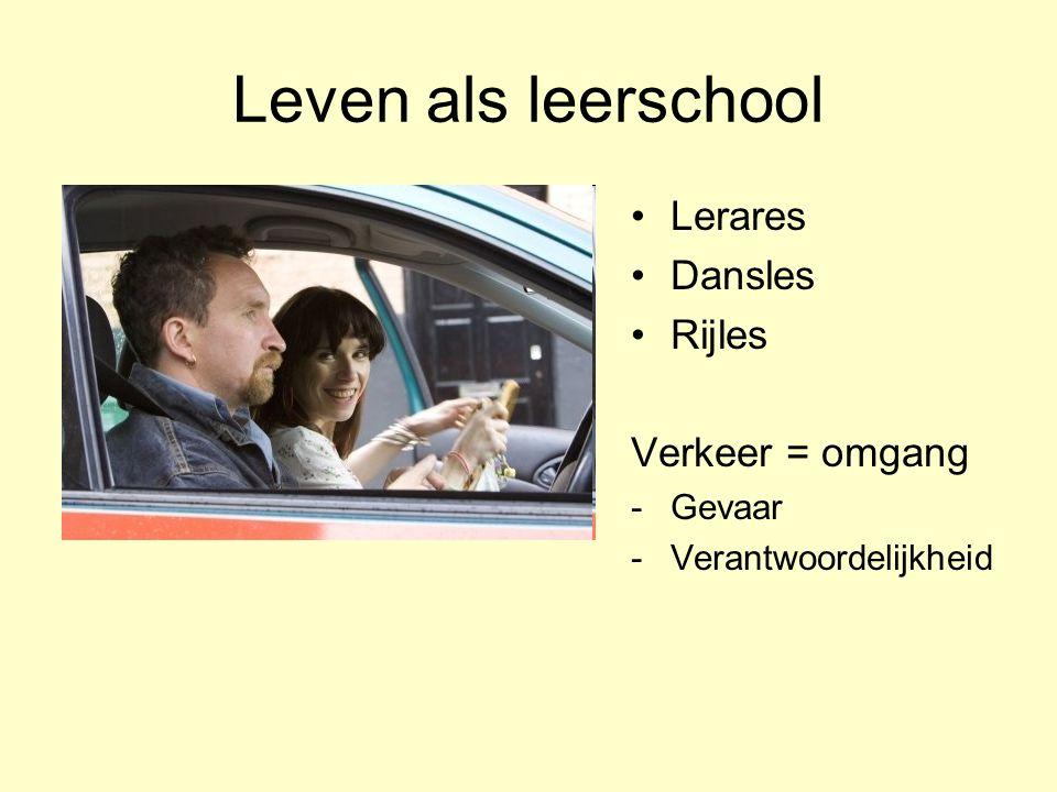 Leven als leerschool •Lerares •Dansles •Rijles Verkeer = omgang -Gevaar -Verantwoordelijkheid
