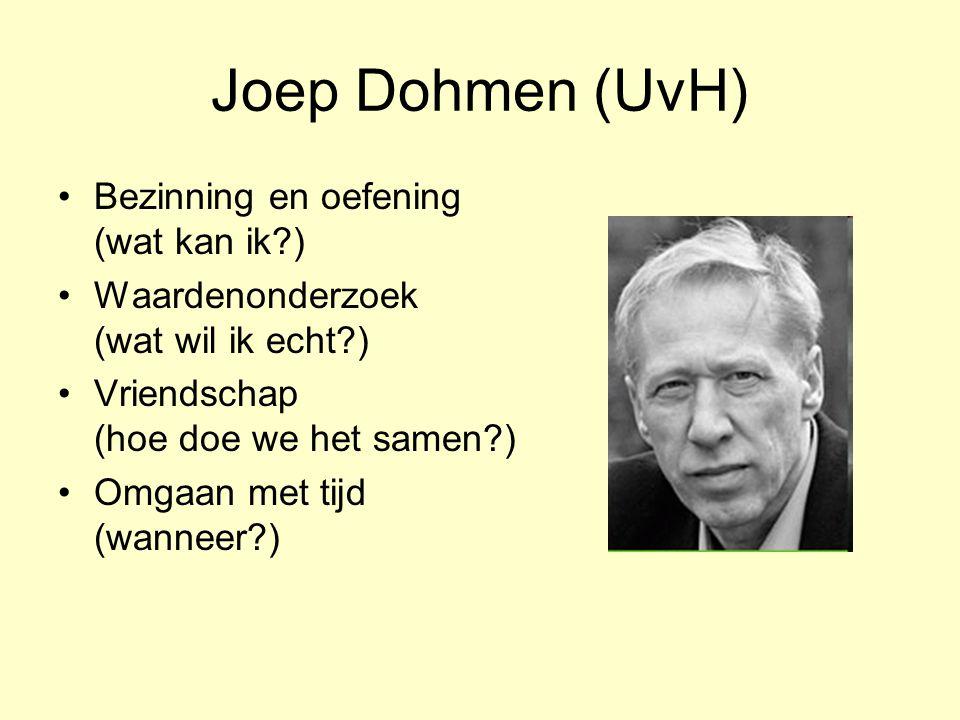 Joep Dohmen (UvH) •Bezinning en oefening (wat kan ik?) •Waardenonderzoek (wat wil ik echt?) •Vriendschap (hoe doe we het samen?) •Omgaan met tijd (wanneer?)