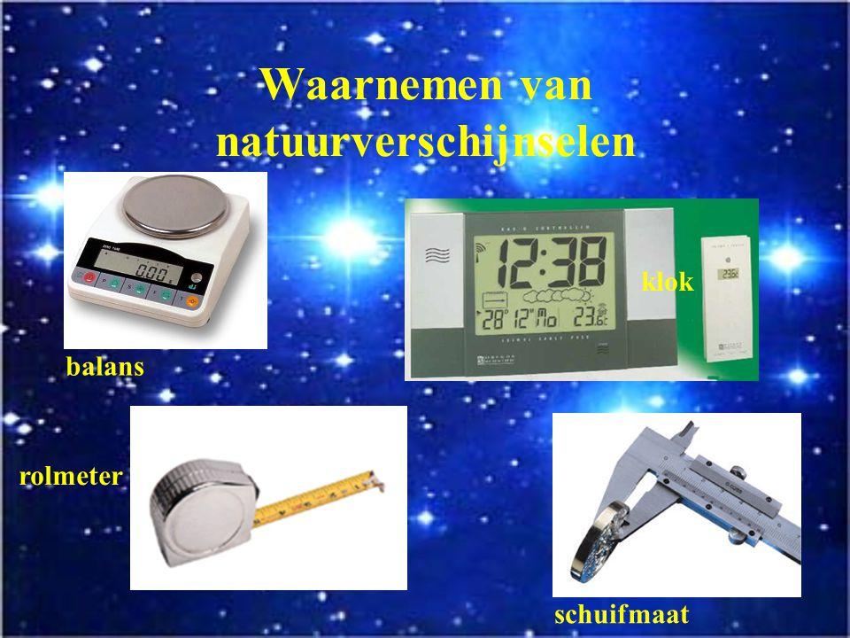 Waarnemen van natuurverschijnselen Speciale waarnemingsinstrumenten verhogen de gevoeligheid en het waarnemingsgebied van de zintuigen. telescoop ther