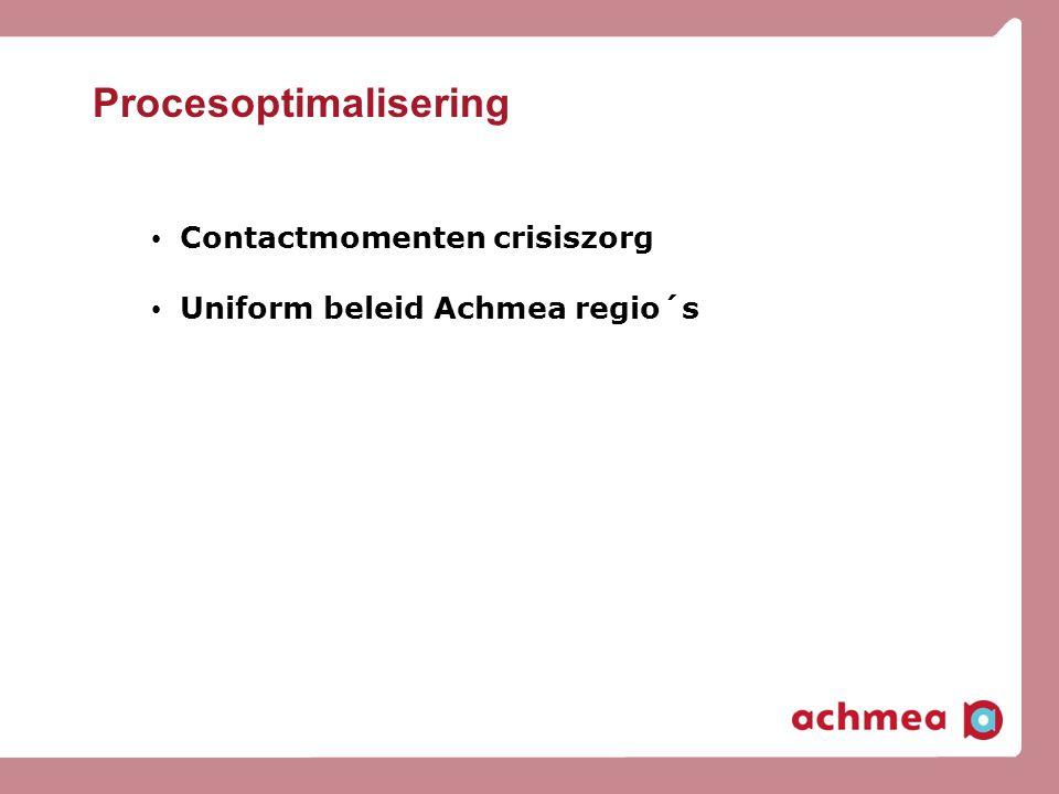Procesoptimalisering • Contactmomenten crisiszorg • Uniform beleid Achmea regio´s