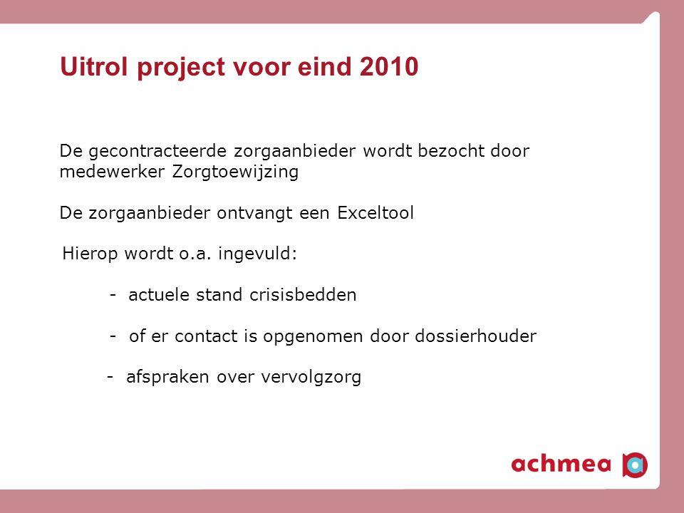 Uitrol project voor eind 2010 De gecontracteerde zorgaanbieder wordt bezocht door medewerker Zorgtoewijzing De zorgaanbieder ontvangt een Exceltool Hi