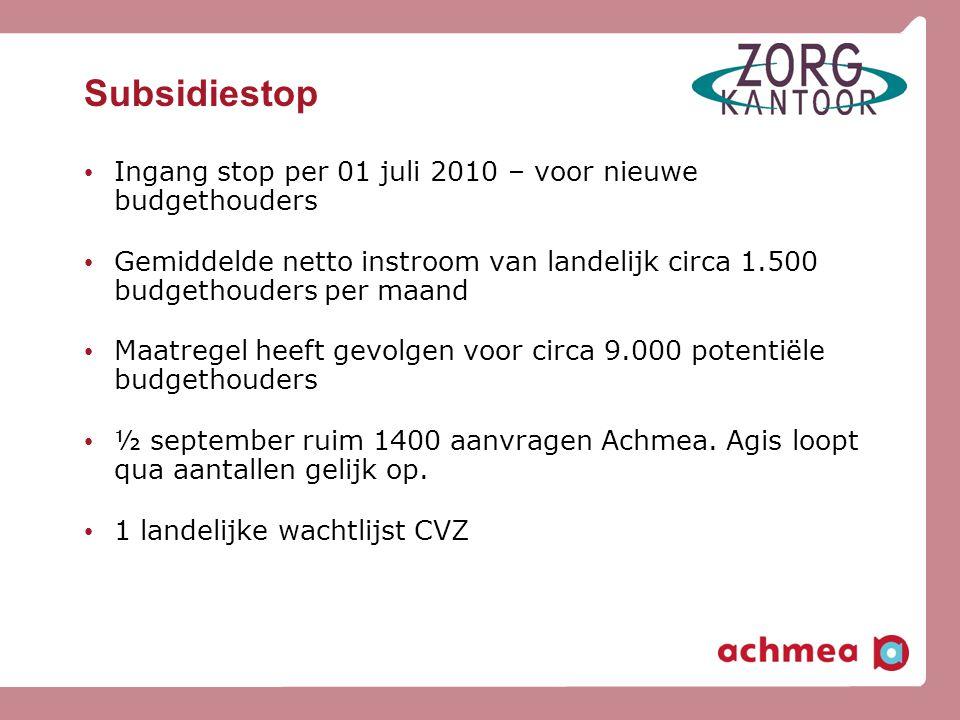 Subsidiestop • Ingang stop per 01 juli 2010 – voor nieuwe budgethouders • Gemiddelde netto instroom van landelijk circa 1.500 budgethouders per maand