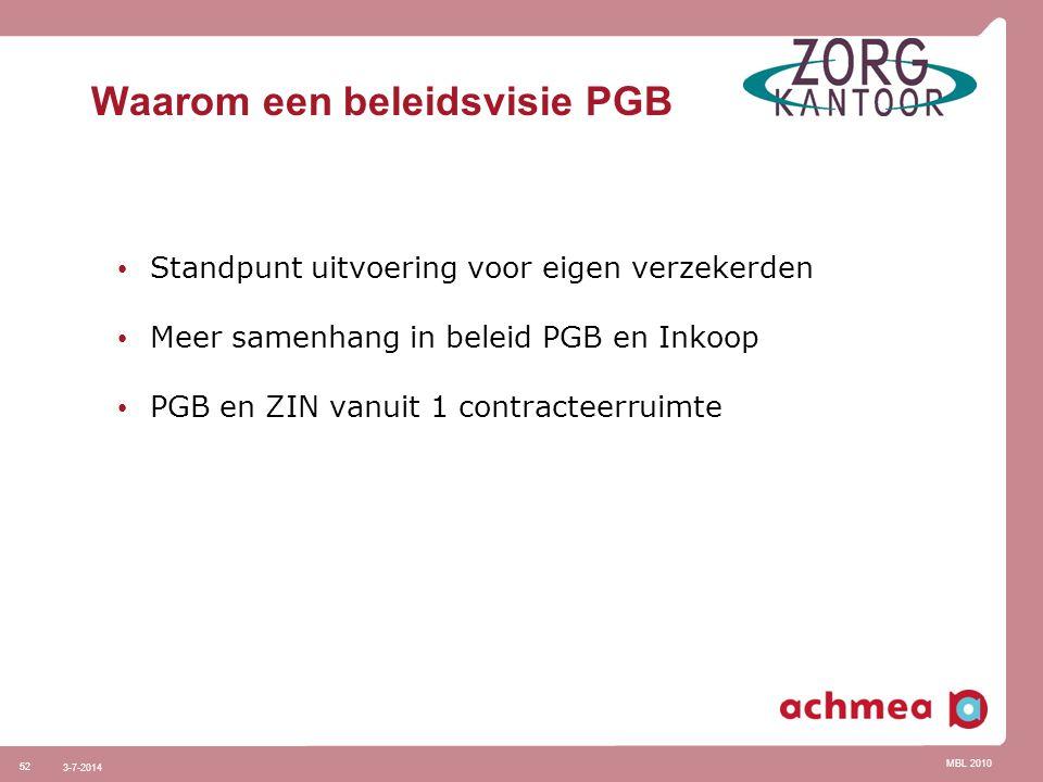MBL 2010 52 3-7-2014 Waarom een beleidsvisie PGB • Standpunt uitvoering voor eigen verzekerden • Meer samenhang in beleid PGB en Inkoop • PGB en ZIN v