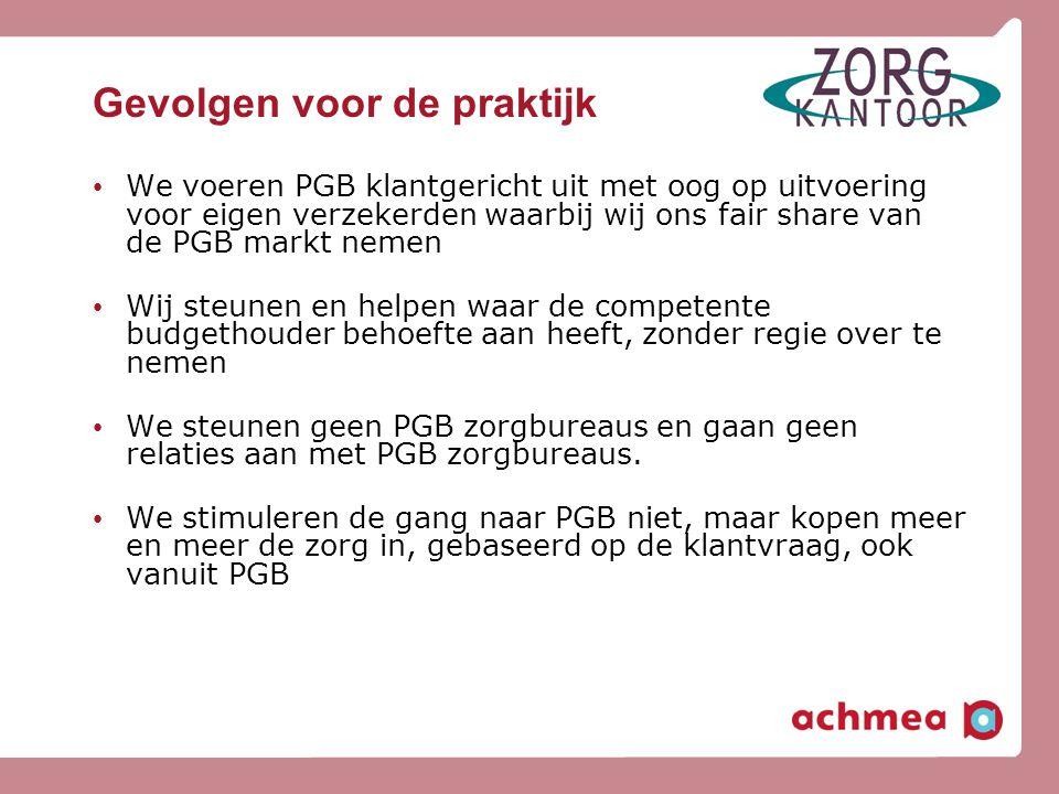 Gevolgen voor de praktijk • We voeren PGB klantgericht uit met oog op uitvoering voor eigen verzekerden waarbij wij ons fair share van de PGB markt ne