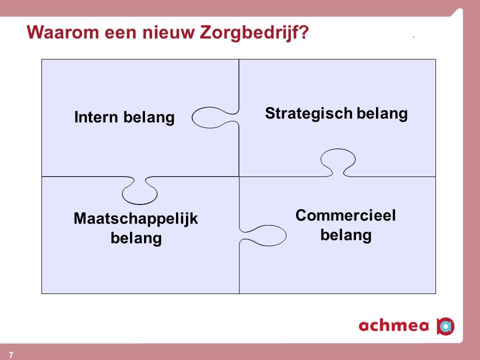 Waarom een nieuw Zorgbedrijf?. Strategisch belang Intern belang Maatschappelijk belang Commercieel belang 7