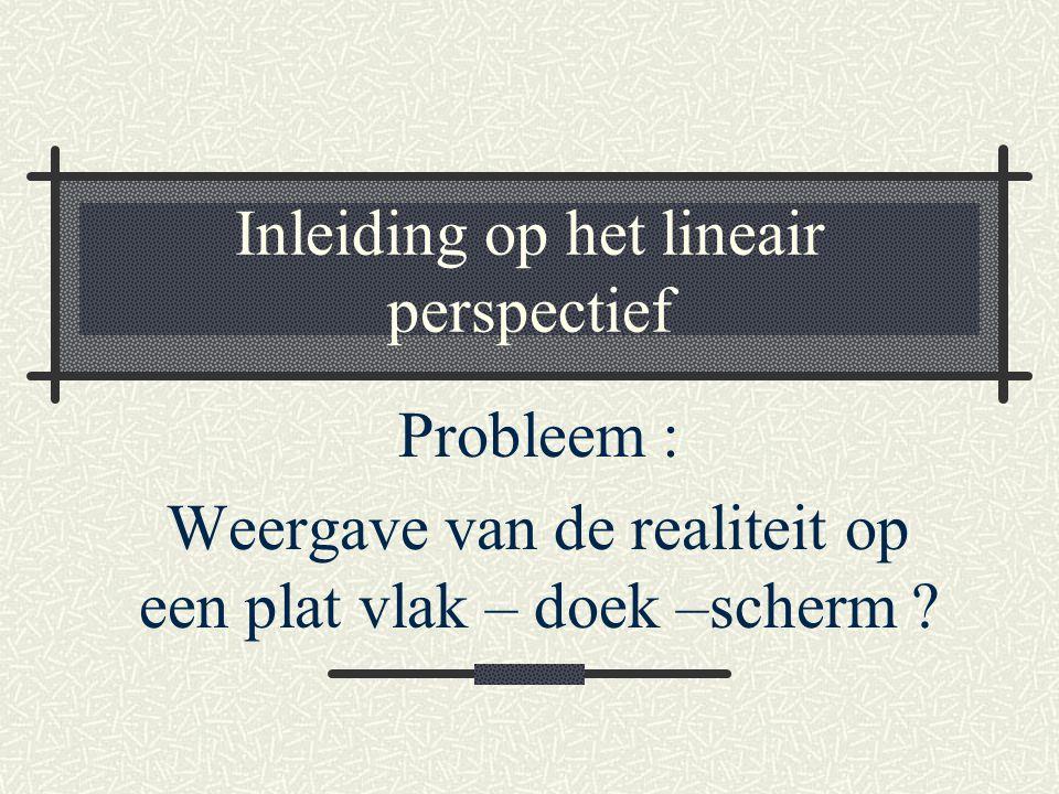 Inleiding op het lineair perspectief Probleem : Weergave van de realiteit op een plat vlak – doek –scherm ?