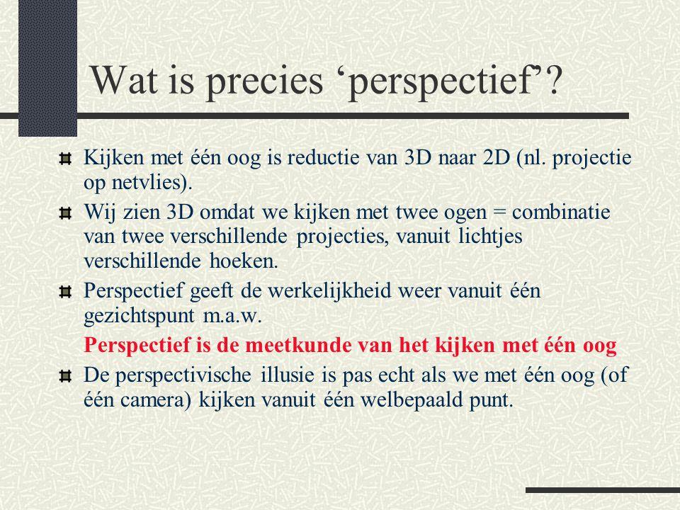 Wat is precies 'perspectief'? Kijken met één oog is reductie van 3D naar 2D (nl. projectie op netvlies). Wij zien 3D omdat we kijken met twee ogen = c