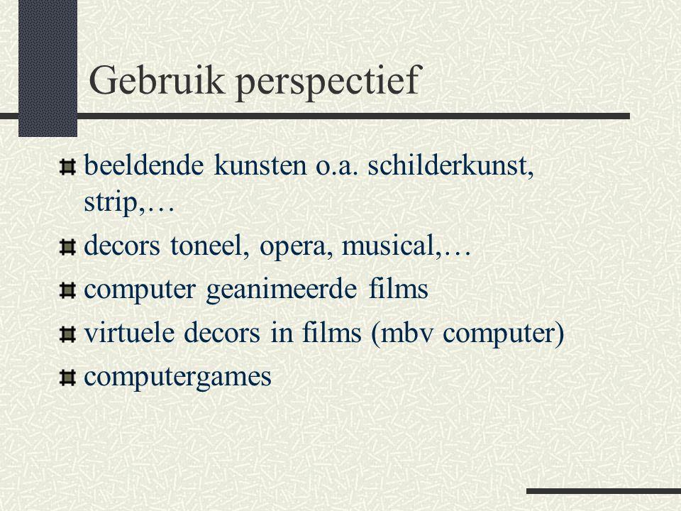 Gebruik perspectief beeldende kunsten o.a. schilderkunst, strip,… decors toneel, opera, musical,… computer geanimeerde films virtuele decors in films