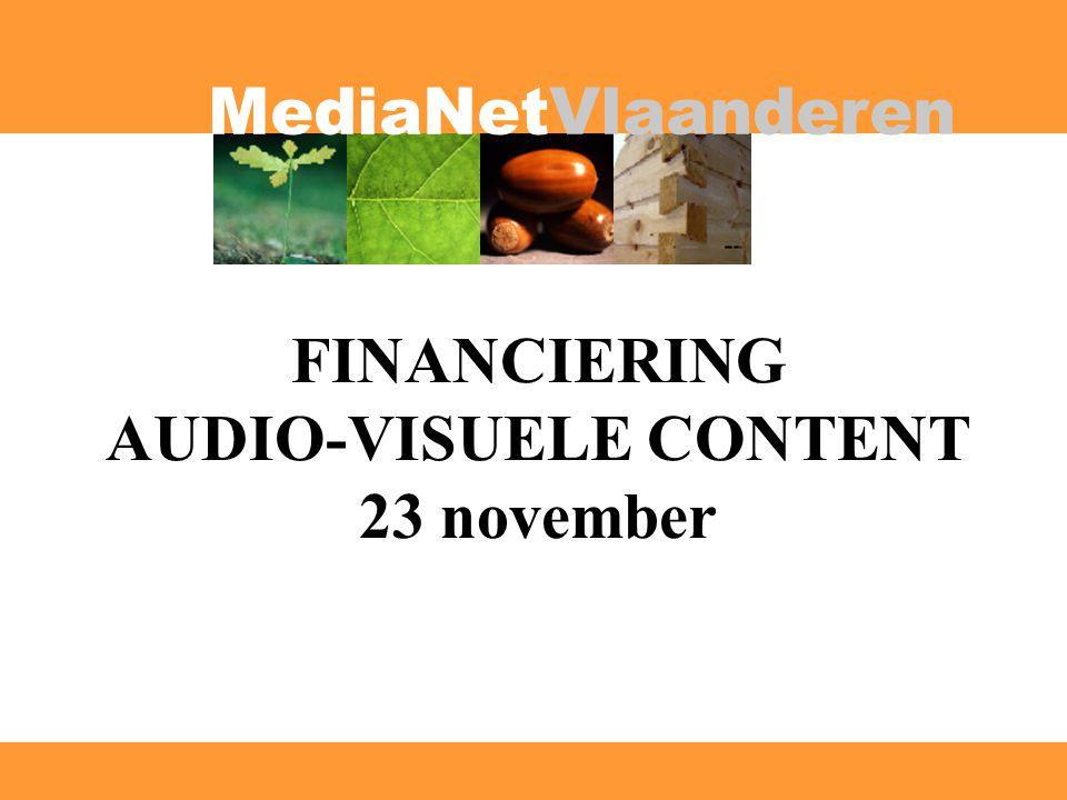 MediaNetVlaanderen Programma 17h15: Welkomswoord door Herman Smedts (voorzitter MediaNet) 17h20: Audiovisuele creaties en coproducties: Pierre Drouot en Hans Everaert (VAF) 17h45: De Tax Shelter samengevat: Koen Batsleer (Finpower) 18h00: De Tax Shelter vanuit het investeerdersperspectief: Piet Sonck (Belgacom) 18h25: Kanaalfinanciering: Stefan Ackermans en Wim Weetjens ( life!tv) 18h45: Product placement in games: Ann Holvoet (Disaster Games) 19h15: Drinks en netwerking