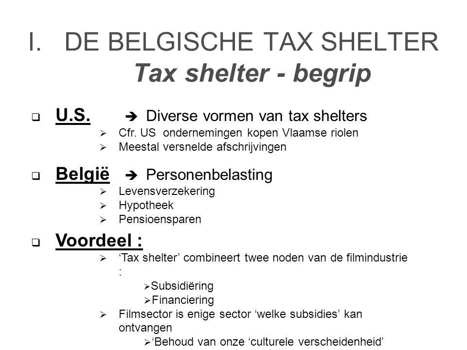 I.DE BELGISCHE TAX SHELTER Tax shelter - begrip  U.S.