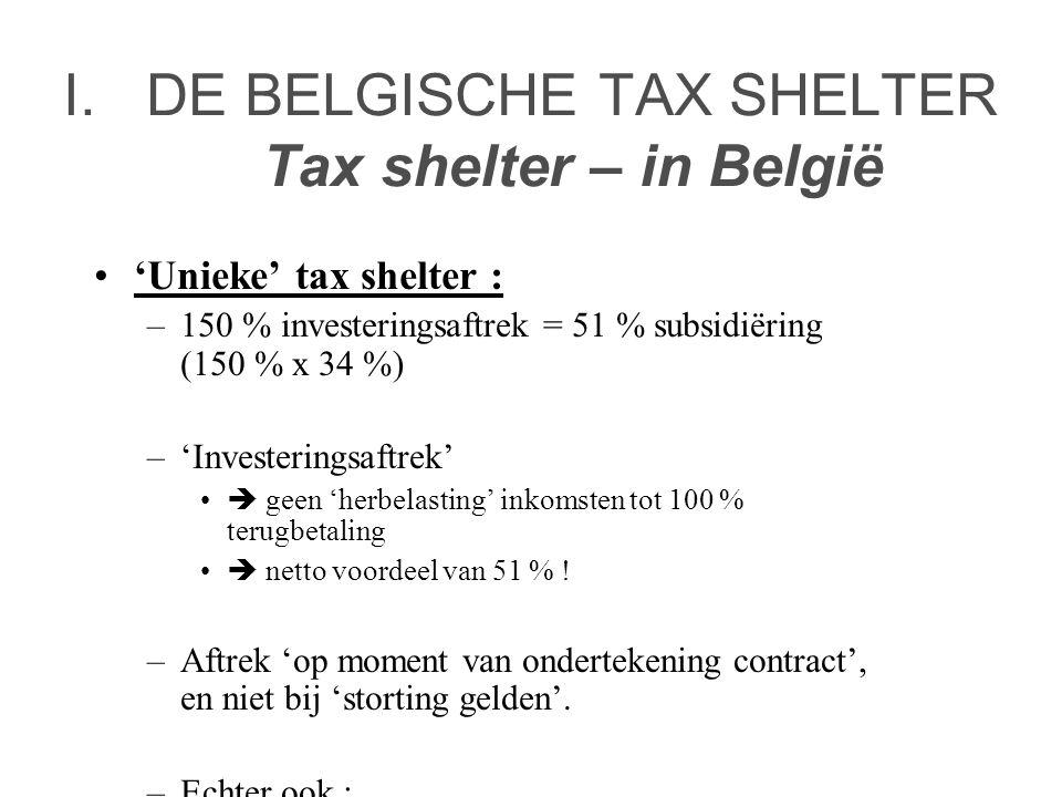 I.DE BELGISCHE TAX SHELTER Tax shelter – in België •'Unieke' tax shelter : –150 % investeringsaftrek = 51 % subsidiëring (150 % x 34 %) –'Investeringsaftrek' •  geen 'herbelasting' inkomsten tot 100 % terugbetaling •  netto voordeel van 51 % .