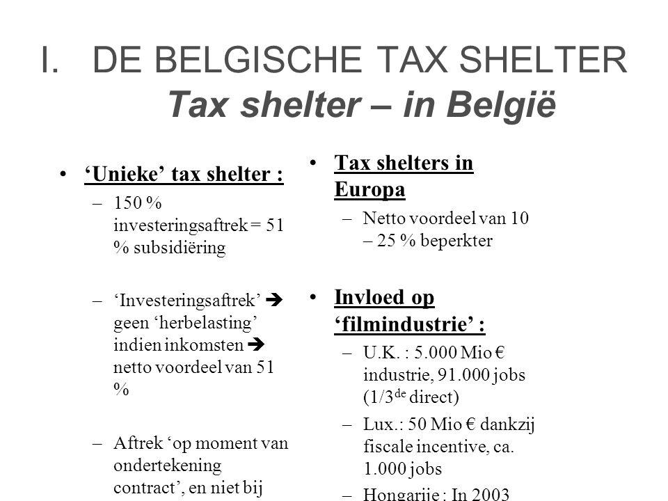 I.DE BELGISCHE TAX SHELTER Tax shelter – in België •'Unieke' tax shelter : –150 % investeringsaftrek = 51 % subsidiëring –'Investeringsaftrek'  geen 'herbelasting' indien inkomsten  netto voordeel van 51 % –Aftrek 'op moment van ondertekening contract', en niet bij 'storting gelden'.