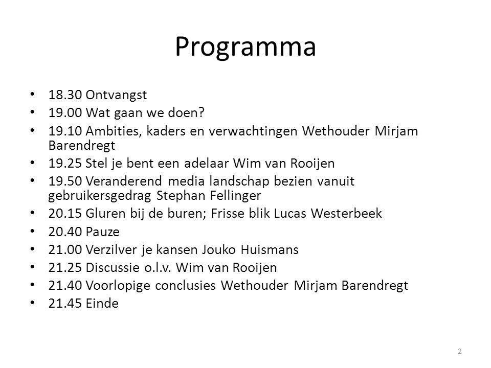 Programma • 18.30 Ontvangst • 19.00 Wat gaan we doen? • 19.10 Ambities, kaders en verwachtingen Wethouder Mirjam Barendregt • 19.25 Stel je bent een a