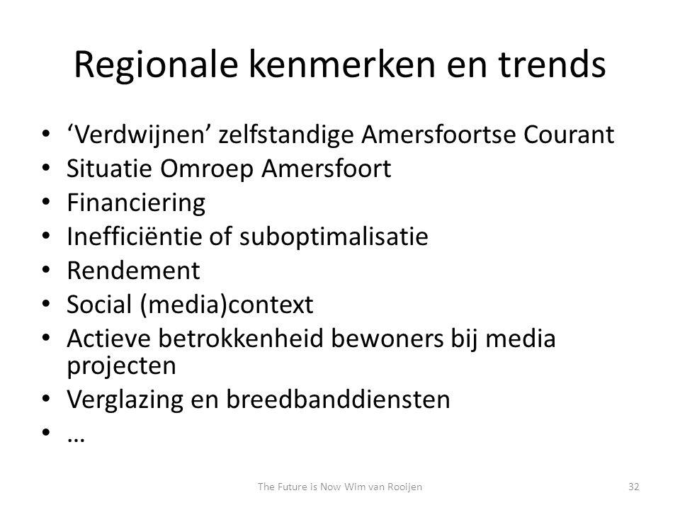 Regionale kenmerken en trends • 'Verdwijnen' zelfstandige Amersfoortse Courant • Situatie Omroep Amersfoort • Financiering • Inefficiëntie of suboptim