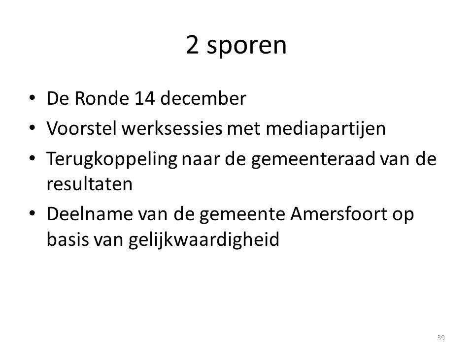 2 sporen • De Ronde 14 december • Voorstel werksessies met mediapartijen • Terugkoppeling naar de gemeenteraad van de resultaten • Deelname van de gem