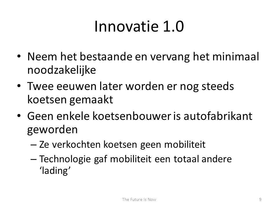 Innovatie 1.0 • Neem het bestaande en vervang het minimaal noodzakelijke • Twee eeuwen later worden er nog steeds koetsen gemaakt • Geen enkele koetse