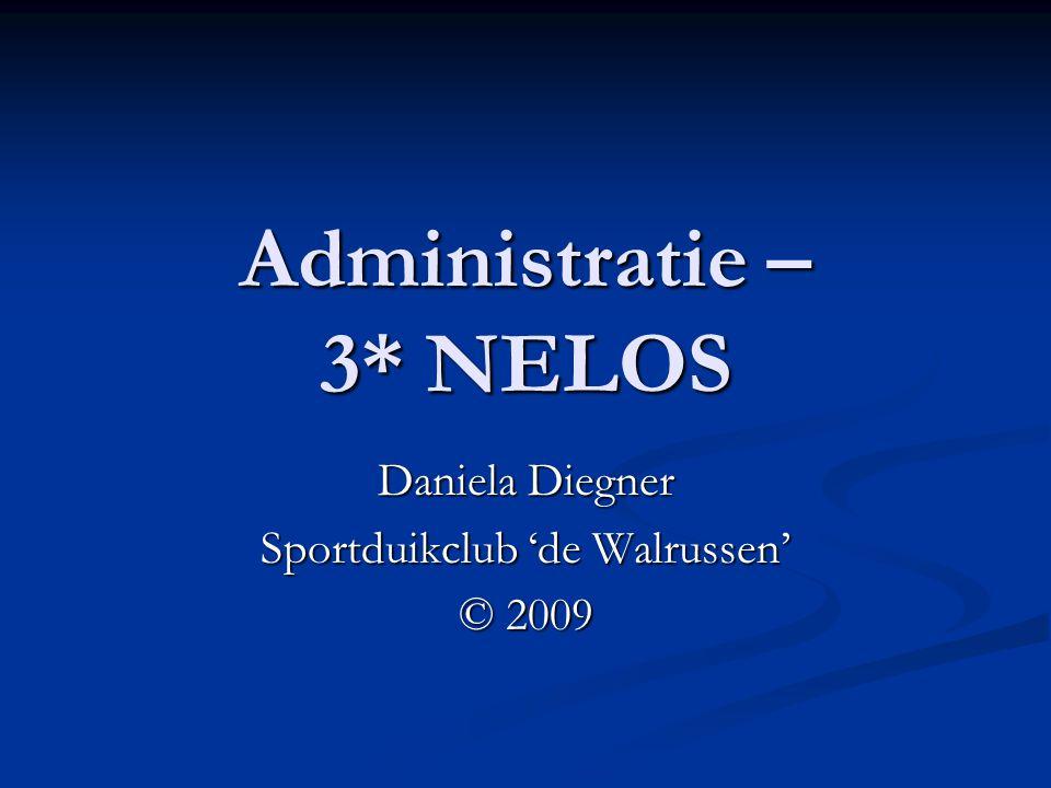 Administratie – 3* NELOS Daniela Diegner Sportduikclub 'de Walrussen' © 2009