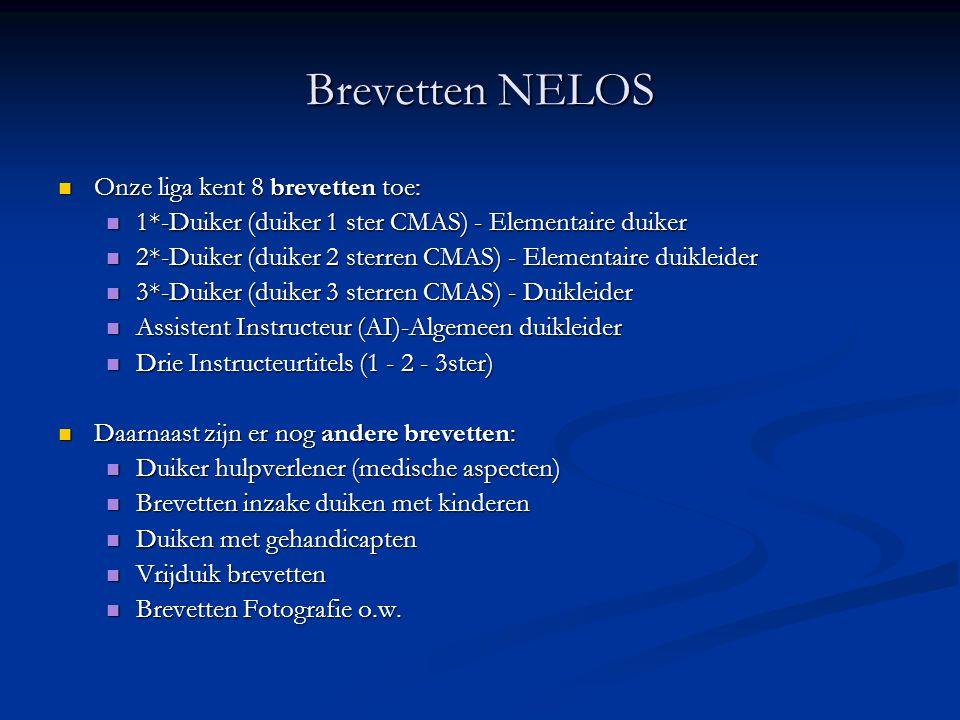 Brevetten NELOS  Onze liga kent 8 brevetten toe:  1*-Duiker (duiker 1 ster CMAS) - Elementaire duiker  2*-Duiker (duiker 2 sterren CMAS) - Elementa