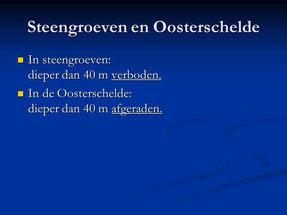 Steengroeven en Oosterschelde  In steengroeven: dieper dan 40 m verboden.  In de Oosterschelde: dieper dan 40 m afgeraden.