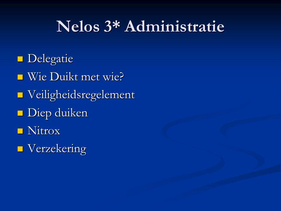 Nelos 3* Administratie  Delegatie  Wie Duikt met wie?  Veiligheidsregelement  Diep duiken  Nitrox  Verzekering
