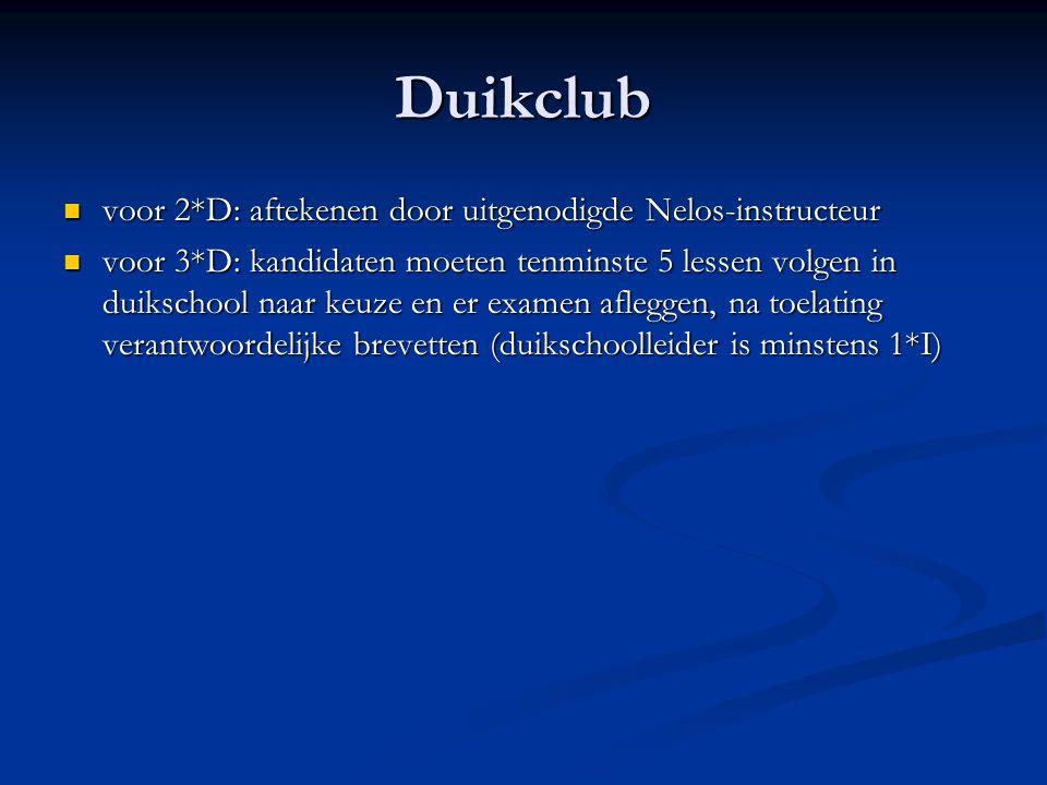 Duikclub  voor 2*D: aftekenen door uitgenodigde Nelos-instructeur  voor 3*D: kandidaten moeten tenminste 5 lessen volgen in duikschool naar keuze en
