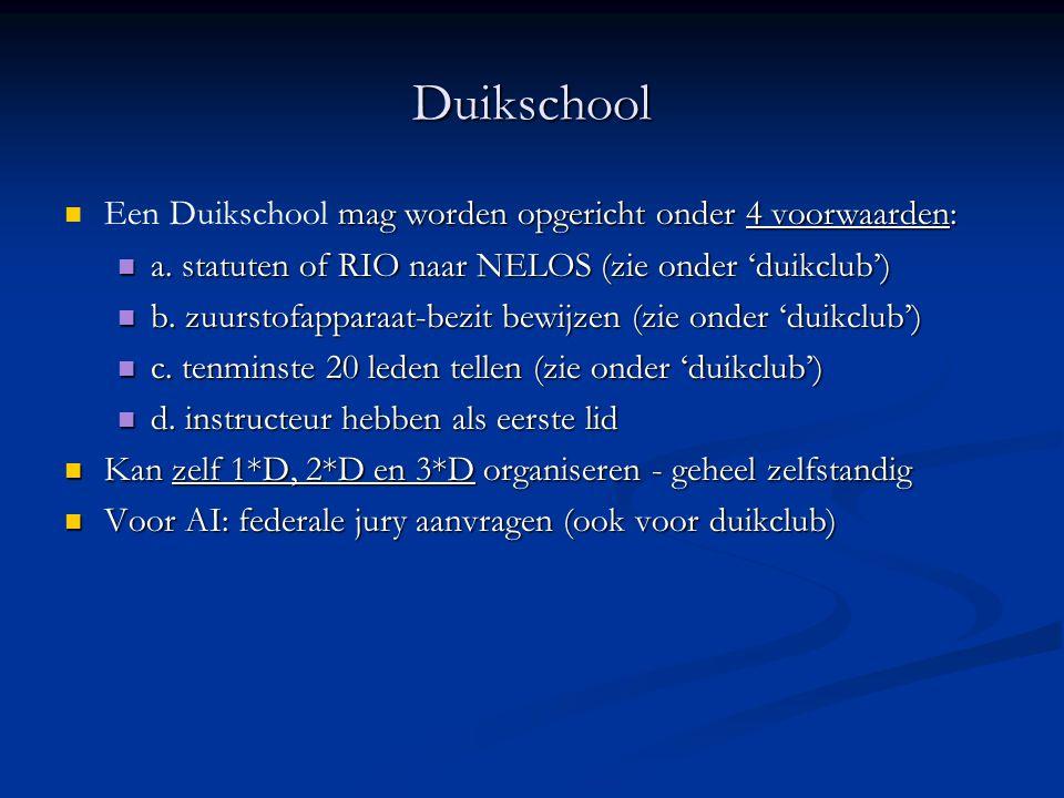 Duikschool  mag worden opgericht onder 4 voorwaarden:  Een Duikschool mag worden opgericht onder 4 voorwaarden:  a. statuten of RIO naar NELOS (zie