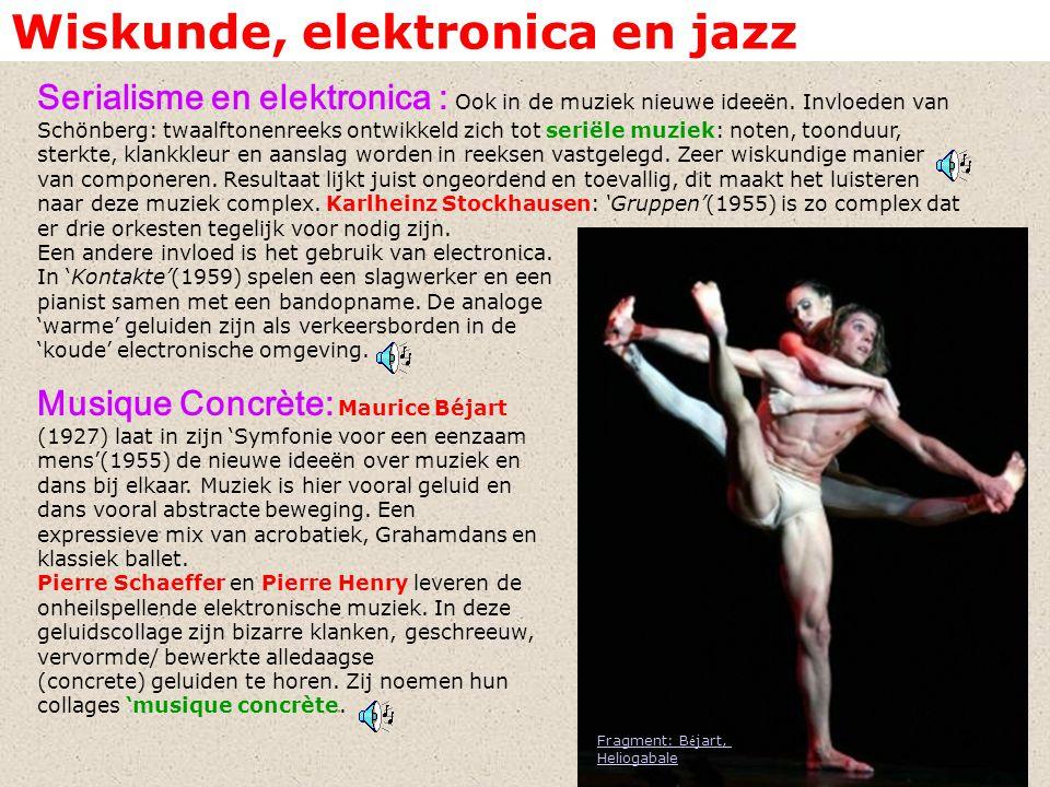 Wiskunde, elektronica en jazz Serialisme en elektronica : Ook in de muziek nieuwe ideeën. Invloeden van Schönberg: twaalftonenreeks ontwikkeld zich to
