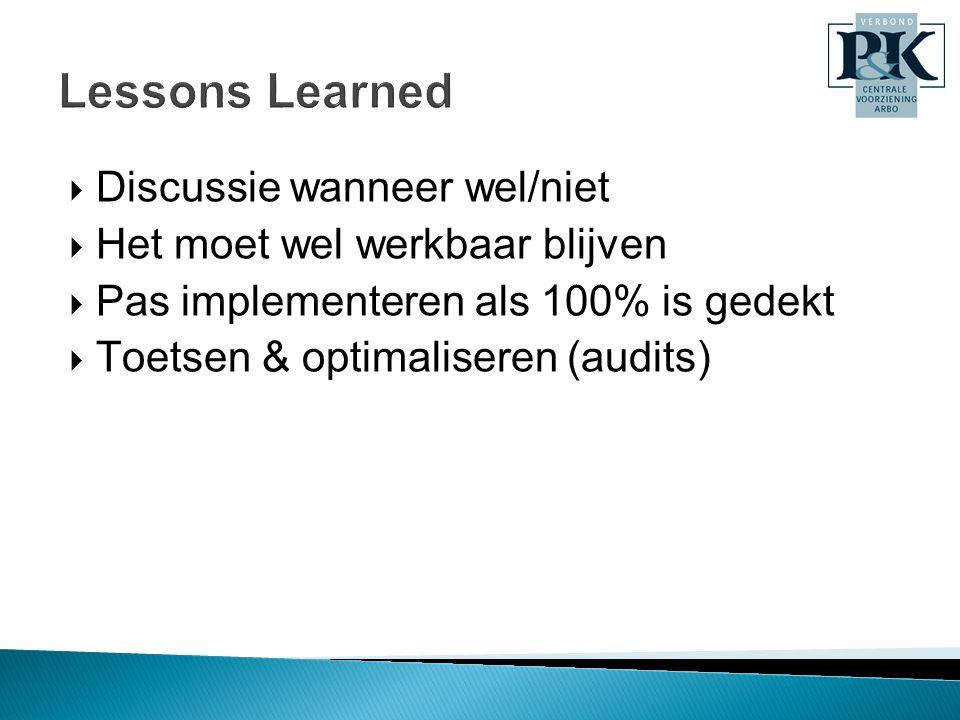  Discussie wanneer wel/niet  Het moet wel werkbaar blijven  Pas implementeren als 100% is gedekt  Toetsen & optimaliseren (audits)