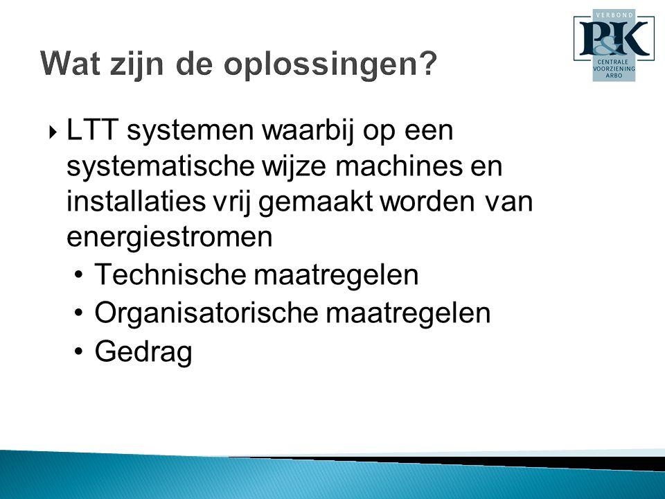 Wat zijn de oplossingen?  LTT systemen waarbij op een systematische wijze machines en installaties vrij gemaakt worden van energiestromen •Technische