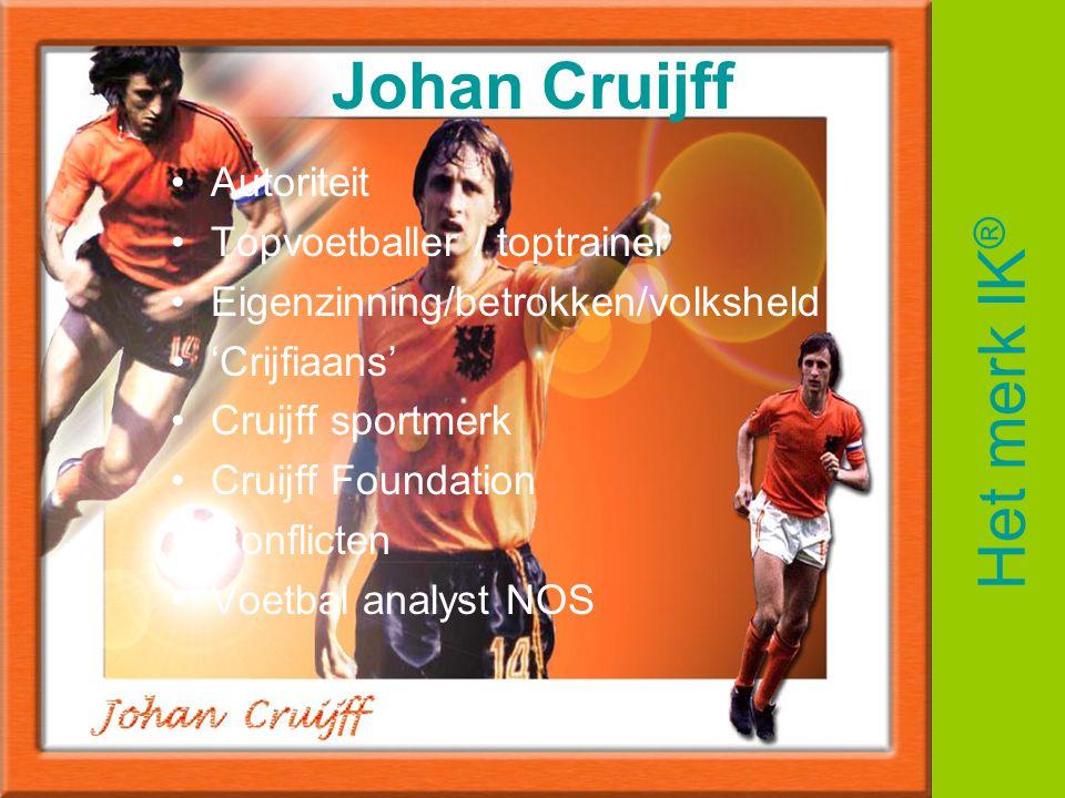 Johan Cruijff •Autoriteit •Topvoetballer / toptrainer •Eigenzinning/betrokken/volksheld •'Crijfiaans' •Cruijff sportmerk •Cruijff Foundation •Conflict