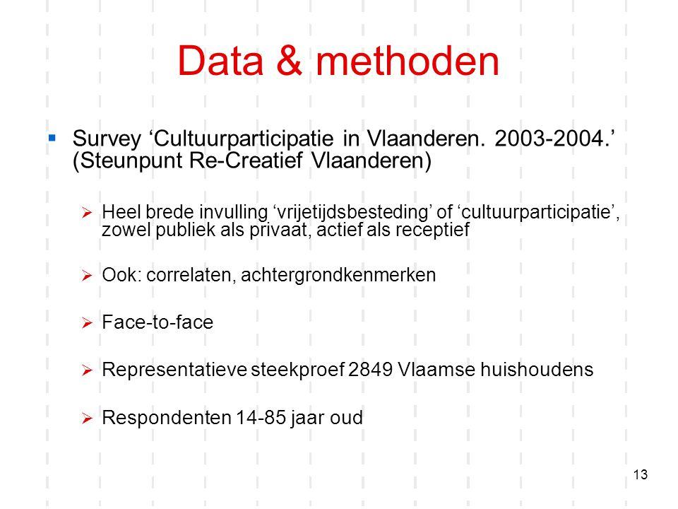 13 Data & methoden  Survey 'Cultuurparticipatie in Vlaanderen. 2003-2004.' (Steunpunt Re-Creatief Vlaanderen)  Heel brede invulling 'vrijetijdsbeste