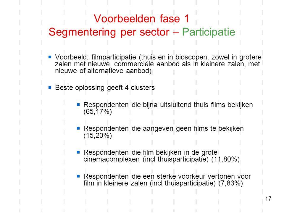 17  Voorbeeld: filmparticipatie (thuis en in bioscopen, zowel in grotere zalen met nieuwe, commerciële aanbod als in kleinere zalen, met nieuwe of al