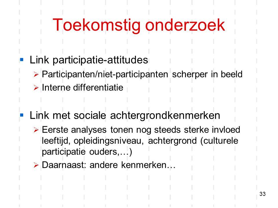 33 Toekomstig onderzoek  Link participatie-attitudes  Participanten/niet-participanten scherper in beeld  Interne differentiatie  Link met sociale